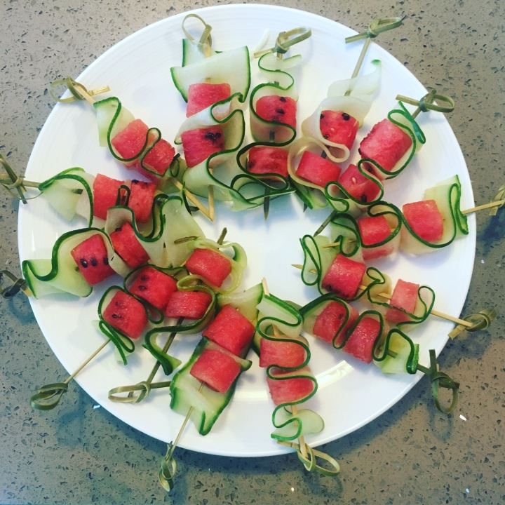 Watermelon, Cucumber & Mint Skewers