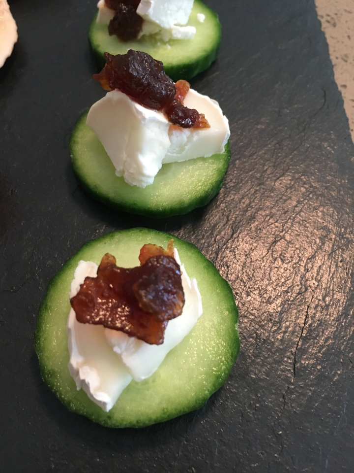 Cucumber, Goats Cheese & Red Onion Chutney