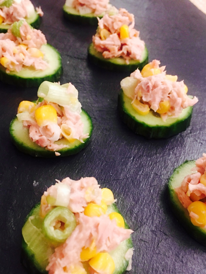 Cucumber with tuna & sweetcorn mayo